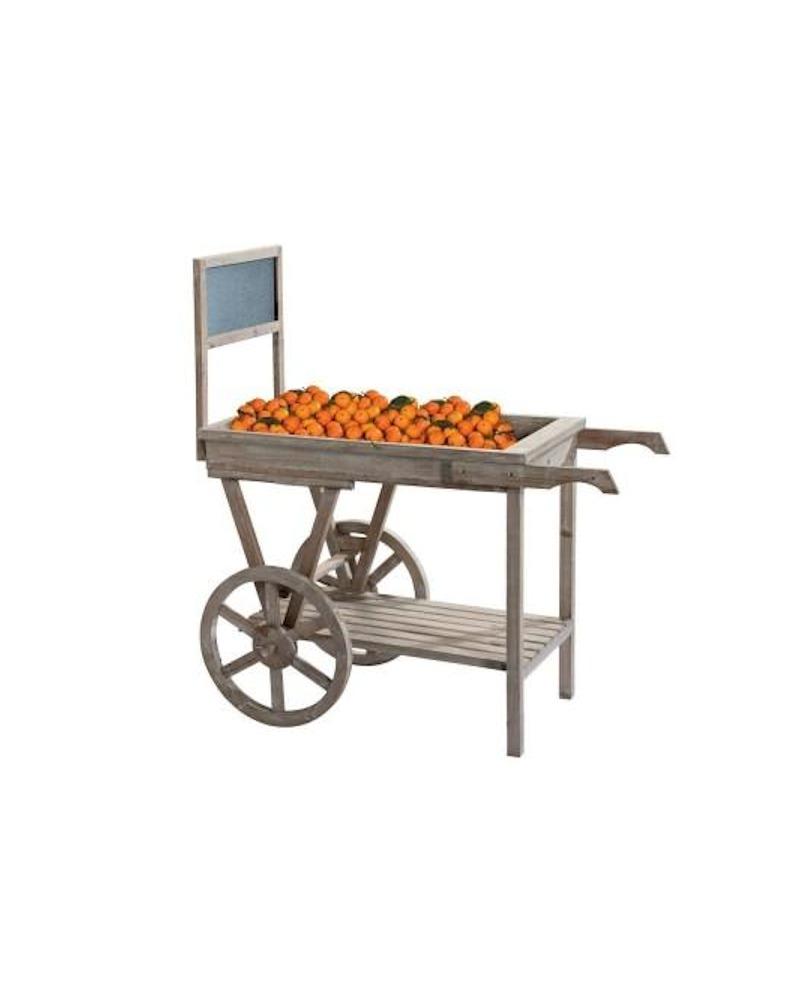 CARRETTO LEGNO ESPOSITORE CON LAVAGNA  lungh. 111 x prof. 58 x alt. 117 cm - RET Mobili in legno