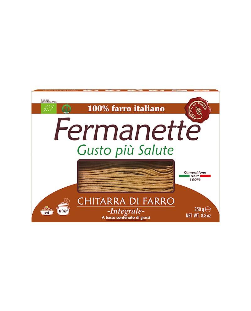 Chitarra di farro Fermanette - Pasta lunga integrale biologica - Astuccio da 250g - Pastificio Marcozzi