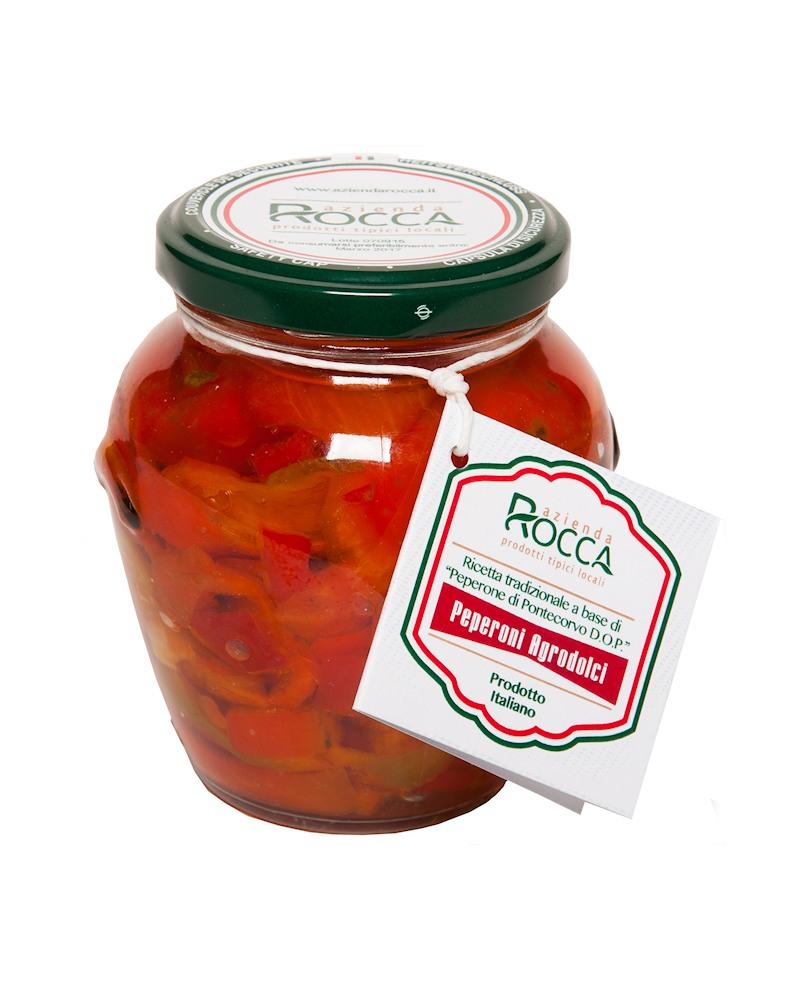 Peperoni Agrodolce di Pontecorvo DOP, senza aglio - Vaso Orcio 296 g - Azienda Rocca