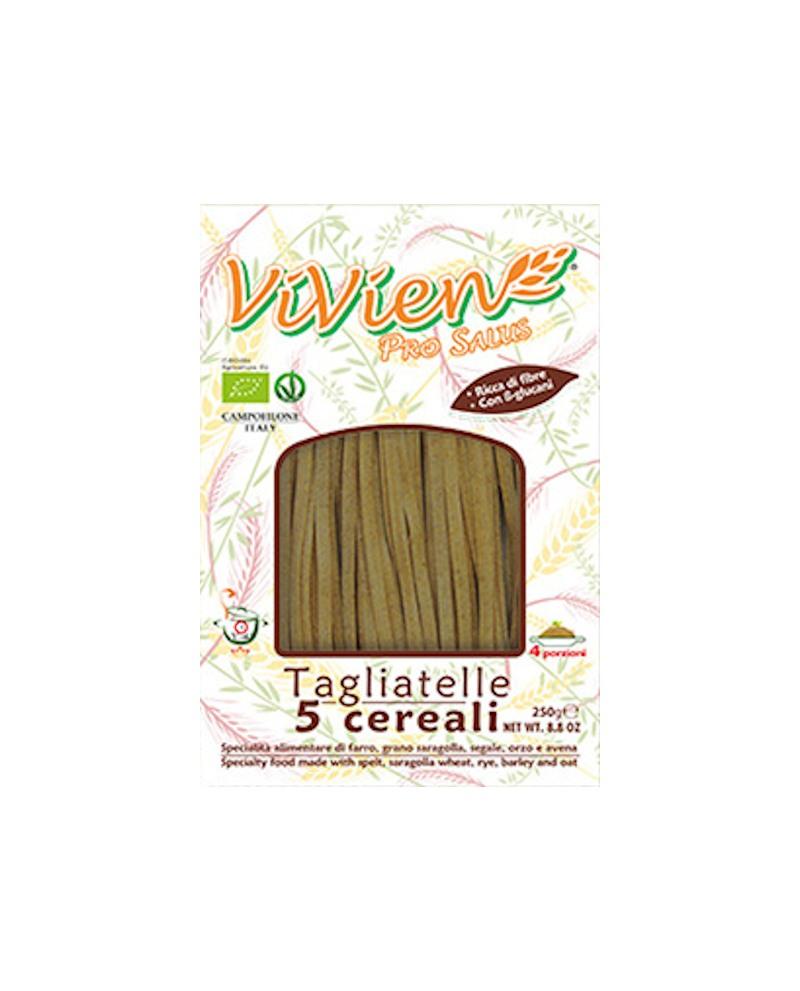 Tagliatelle 5 cereali ViVien Pro Salus - Pasta lunga integrale biologica - Astuccio da 250g - Pastificio Marcozzi
